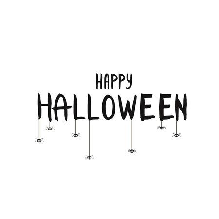 Happy Halloween Text Banner with bat. Happy Halloween lettering.