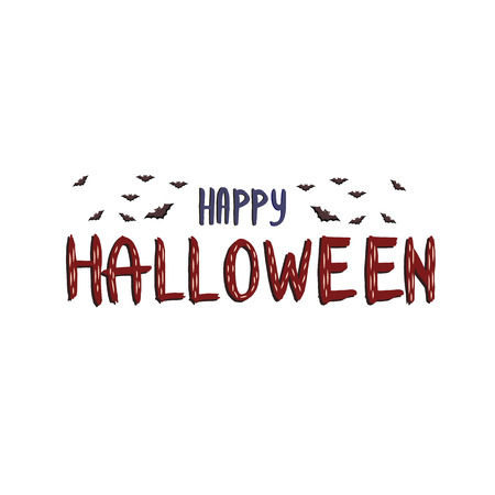 Happy Halloween Text Banner with bat. Happy Halloween red lettering.
