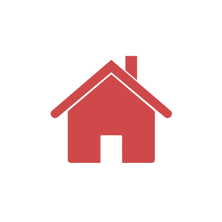 House icon. Home symbol. Home icon in flat style. Red vector illustration Иллюстрация