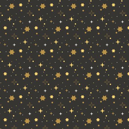 Stars pattern on black background. Holiday background. Gold, yellow, white stars on black background