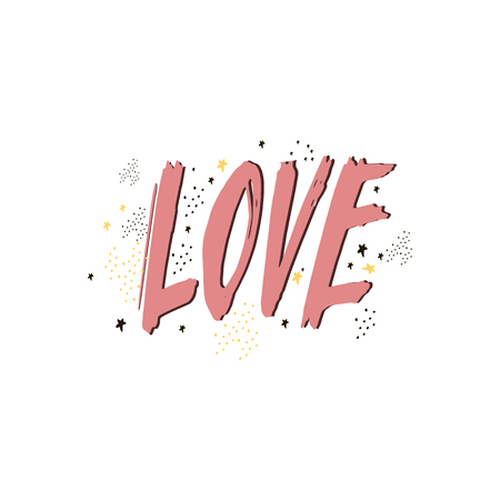 Lettering writing love you yourself handwritten black text on white background vector. Valentine card design with lettering and stars