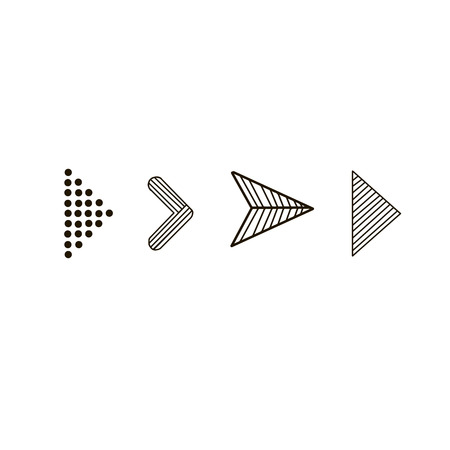 Doodle hand drawn vector arrows. Set black arrows on white background. Isolated vector Illustration. Arrow icon Иллюстрация