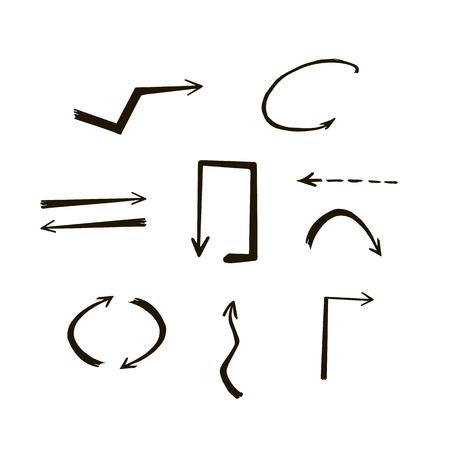 Doodle hand drawn vector arrows. Set black thin arrows on white background. Иллюстрация