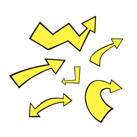 Doodle hand drawn vector arrows. Set black yellow arrows on white background. Arrows for web