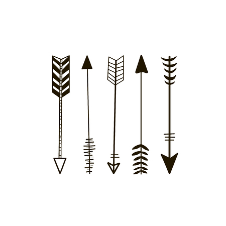 Doodle hand drawn vector arrows. Set of black hand drawn arrows. Hipster ethnic vector elements