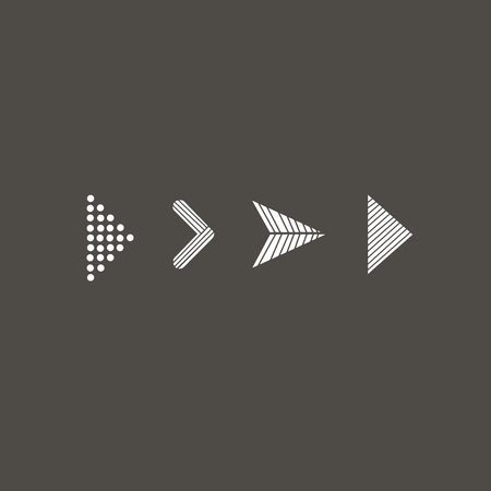 Doodle hand drawn vector arrows. Set white arrows on black background. Isolated vector Illustration. Arrow icon Иллюстрация