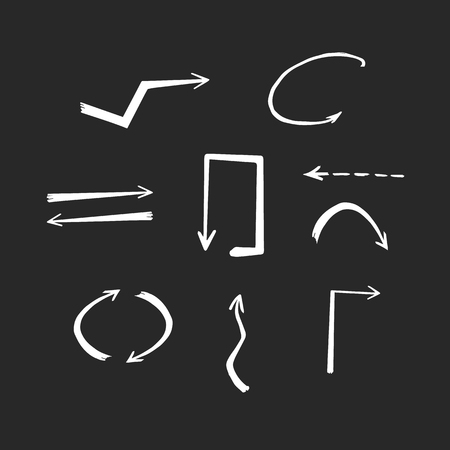 Doodle hand drawn vector arrows. Set white thin arrows on black background.