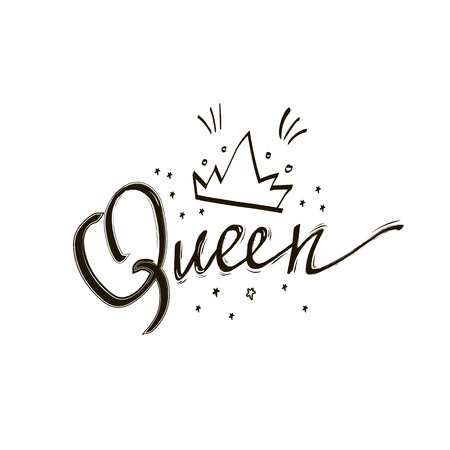 Queen crown vector calligraphy design funny poster. Queen black lettering with stars. Doodle illustration with calligraphy