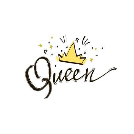 Queen crown vector calligraphy design funny poster. Queen lettering with stars. Doodle illustration with calligraphy