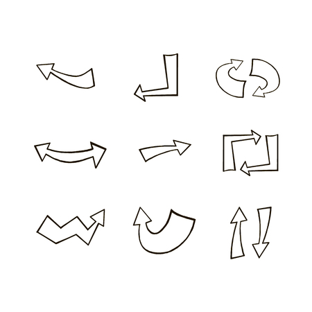 Doodle hand drawn vector arrows. Set black arrows on white background. Arrows for web