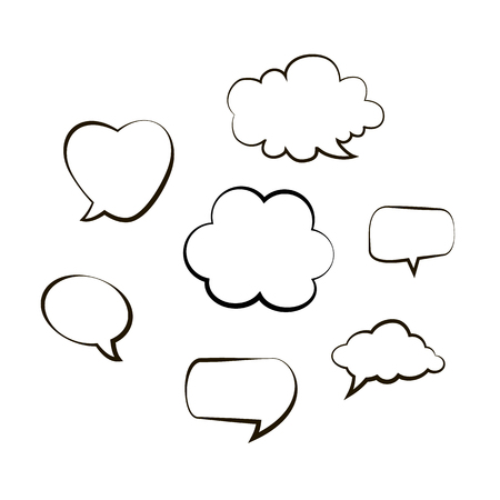 Handwriting. Doodle style black comic balloon, cloud, heart shaped design elements. Isolated vector. Line bubbles on white background