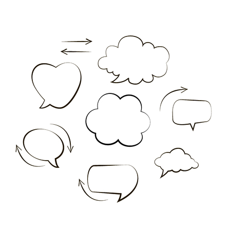 Handwriting. Doodle style black comic balloon, cloud, heart shaped design elements. Isolated vector. Line bubbles with arrows on white background Иллюстрация