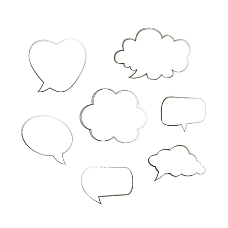 Greetings and sale ad. Doodle style black comic balloon, cloud, heart shaped design elements. Isolated vector