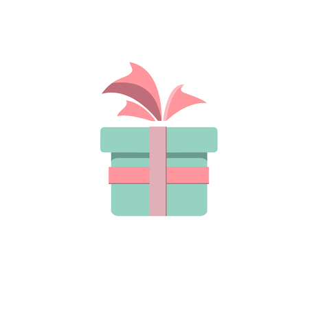 Red gift box with blue bow Иллюстрация
