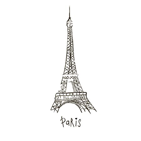 Vector Paris drawing. The Eiffel Tower. Doodle style. Hand-drawn picture on white background