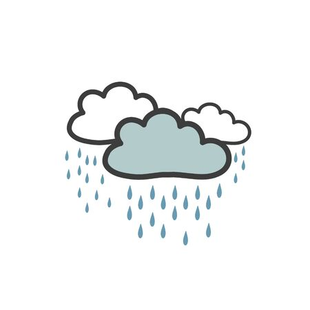 Color picture of gray clouds with heavy rain. Symbol of the weather. Vector drawing by hand in the doodle style Stock Vector - 129022125