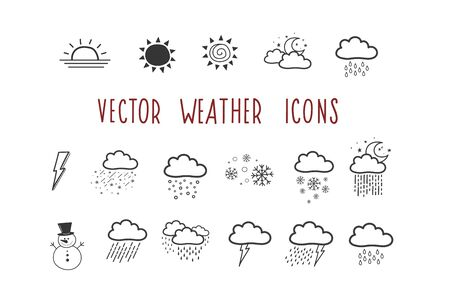 A set of vector weather icons. Doodle-style badge. Illustration by hand.