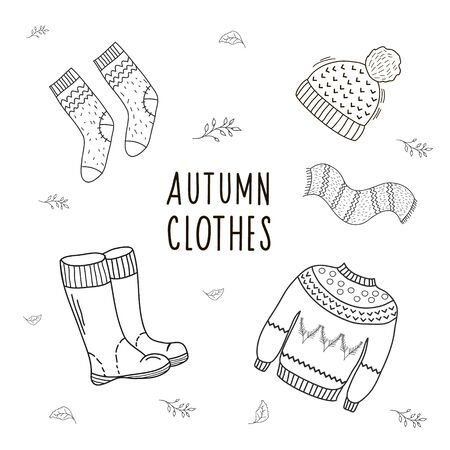 Set of drawings of autumn clothes. Illustration by hand in the style of doodle. Linear illustartion