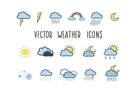 Set of weather icons. Colored illustrations by hand in the style of doodle. Weather symbols Stock Vector - 129022222