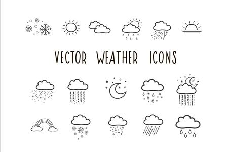 Set of vector weather icons. Weather forecast symbols. Vector illustrations by hand. Stock Vector - 129022224