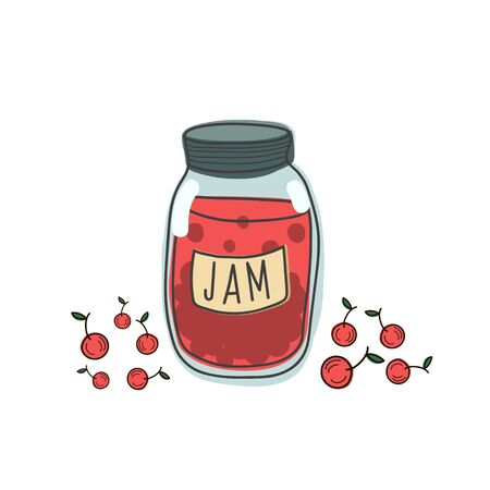 Vector pattern of jam jars with cherries. Illustration of sweet food in the style of doodle. Hand-drawn drawing Ilustração