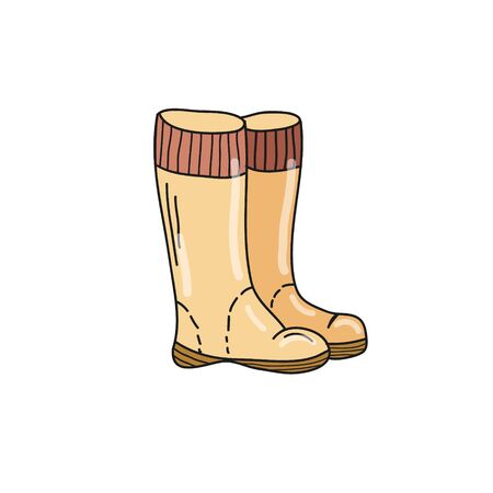 Yellow boots on a white background. Vector Illustration by hand in the style of doodle. Illustration for children