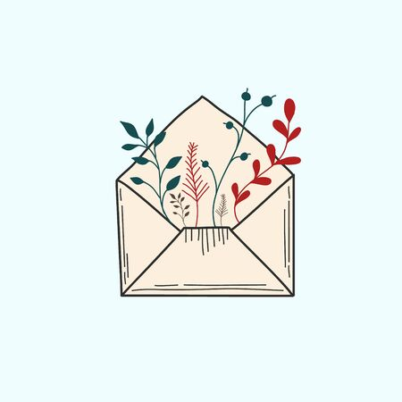 Open envelope with plants. Mail symbol. Colored Vector illustration in doodle style. Иллюстрация