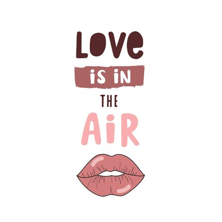 Love is in the air. Pink handwritten inscription on a white background. Poster design Ilustração
