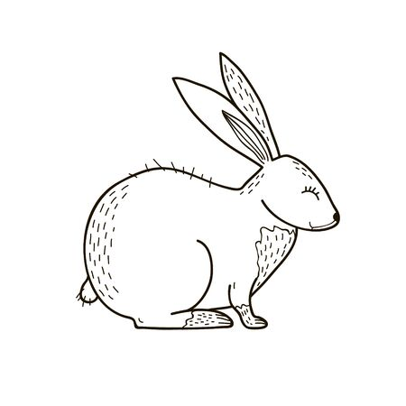 Rabbit line drawing. Vector black and white illustration. Freehand drawing