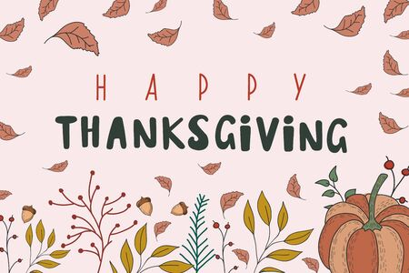Autumn background with pumpkin, leaves with acorns. vector color illustration. Happy thanksgiving.