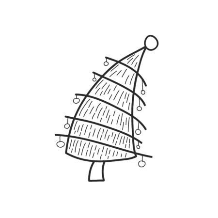 Stylized Christmas tree. Vector linear drawing by hand. Doodle style illustration Çizim