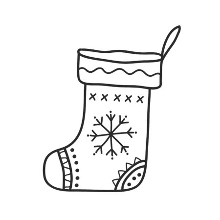 Gift sock drawing. Vector linear freehand drawing in doodle style. Black and white illustration.