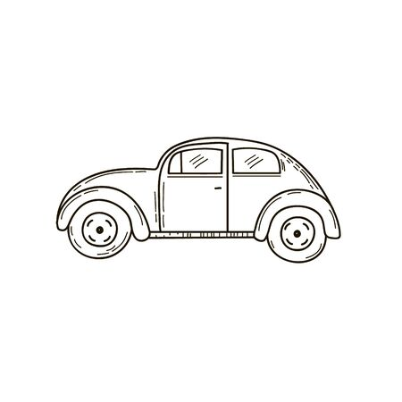 Retro car drawing. Vector linear freehand illustration in doodle style.