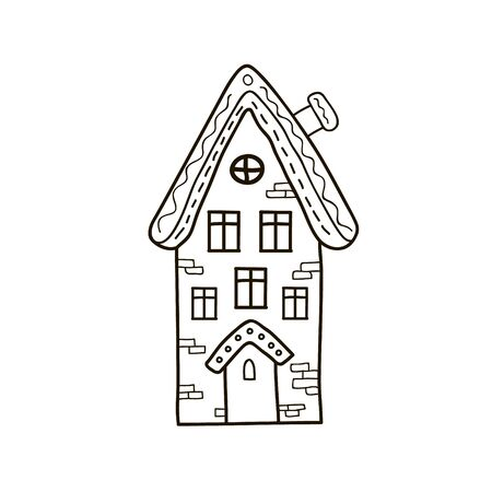 Drawing a house. Freehand linear vector illustration. Gingerbread house