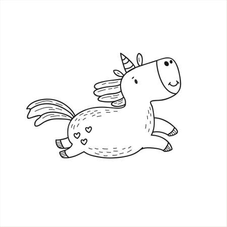 Unicorn. Linear vector illustration in doodle style. Kawaii Character Design