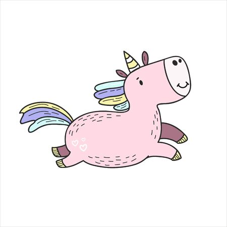 Unicorn. Color vector illustration in doodle style. Kawaii Character Design