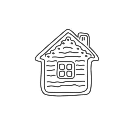 Gingerbread in the form of a house. Vector linear illustration in doodle style. Gingerbread Cookie. Çizim