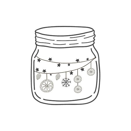 Glass jar with a garland and oranges. Vector freehand illustration in doodle style. New year illustration Çizim