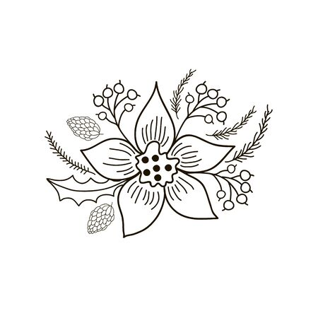 Christmas wreath. Vector linear drawing by hand. Christmas plants.  イラスト・ベクター素材