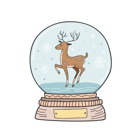 Christmas crystal ball with deer and snowflakes. Vector color illustration