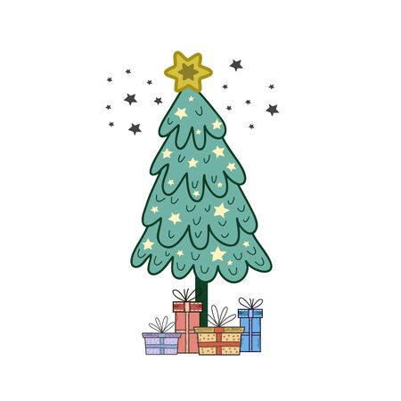 Christmas tree with boxes of gifts. Vector color illustration by hand. Holiday card design