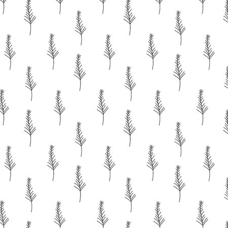 Vector pattern and Christmas trees. Floral minimalistic ornament. Freehand drawing.