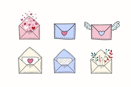 A set of drawn envelopes and letters. Vector color illustration of a love message. Freehand doodle drawing. Illustration