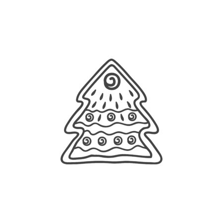 Gingerbread cookie in the form of a Christmas tree. Vector linear illustration in doodle style. Gingerbread.