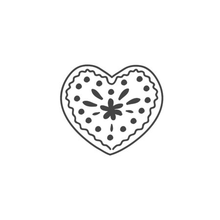 Heart shaped gingerbread cookie. Vector linear illustration in doodle style. Gingerbread. Çizim