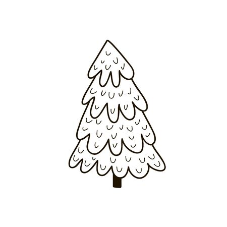 Christmas tree. Vector doodle style doodle. Black and white linear illustration.