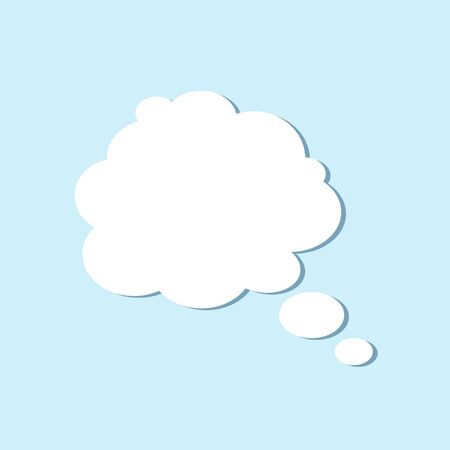 White empty blank speech bubble, thinking balloon shape of a balloon on a blue background. Vector illustration.