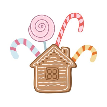 A set of sweets. Color vector illustration by hand. Lollipops and gingerbread. Christmas sweets