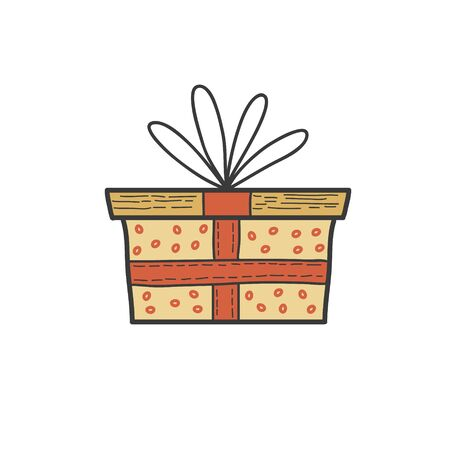 Gift box drawing. Vector color hand drawn illustration in doodle style.