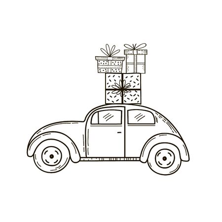 Retro car with gifts on the roof. Vector linear drawing in doodle style. Çizim